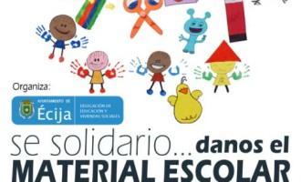Desde la delegación de educación del Ayuntamiento de Écija se pone en marcha una campaña de recogida de material escolar.