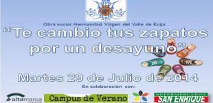 La hermandad de la Virgen del Valle realiza una campaña con el Campamento Campus 2014 de Altamarca e Innova ForOcio de Écija