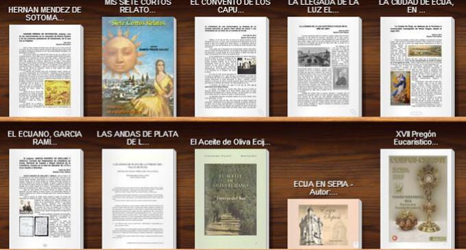 Expositor de lectura con algunas de las publicaciones realizadas en Ciberecija