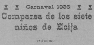 Canciones de la Comparsa de los 7 niños de Écija, de Madridejos (1936), en Pliego de Cordel