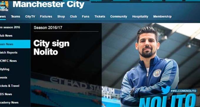El jugador que comenzó en el Écija, Nolito, es fichado por el Manchester City (ver noticia de la página del club en Inglés)