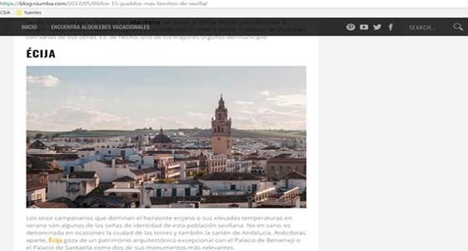 Niumba, el portal de alquileres vacacionales de TripAdvisor, selecciona a Écija entre los 15 pueblos más bonitos de Sevilla