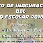 """Conferencia """"La Educación en Roma, la Educación en Astigi"""" por Sergio García-Dils en la inauguración del Curso Escolar SAFA-Écija 2018/2019"""