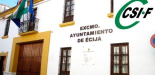 La sección Sindical del Sindicato CSI-F del Ayuntamiento de Écija presenta denuncia por incumplimiento de entrega de uniformes y ropa de trabajo