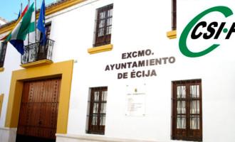 La seccion sindical de CSIF del ayuntamiento de Écija se posiciona en contra de los presupuestos 2019 y 2020 que presenta el PSOE