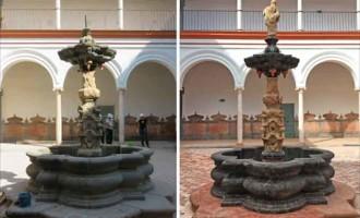 Restauración de la fuente barroca del Palacio de los Marqueses de Peñaflor de Écija (video)