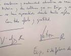 El texto escrito por el Rey Felipe VI de España en el Libro de Honor de la ciudad de Écija, con motivo de su visita